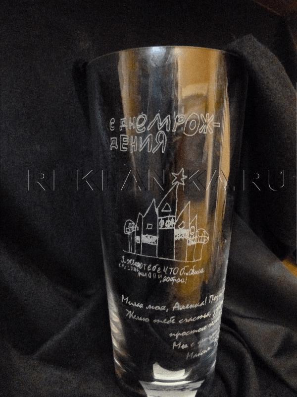 Лазерная гравировка на вазе